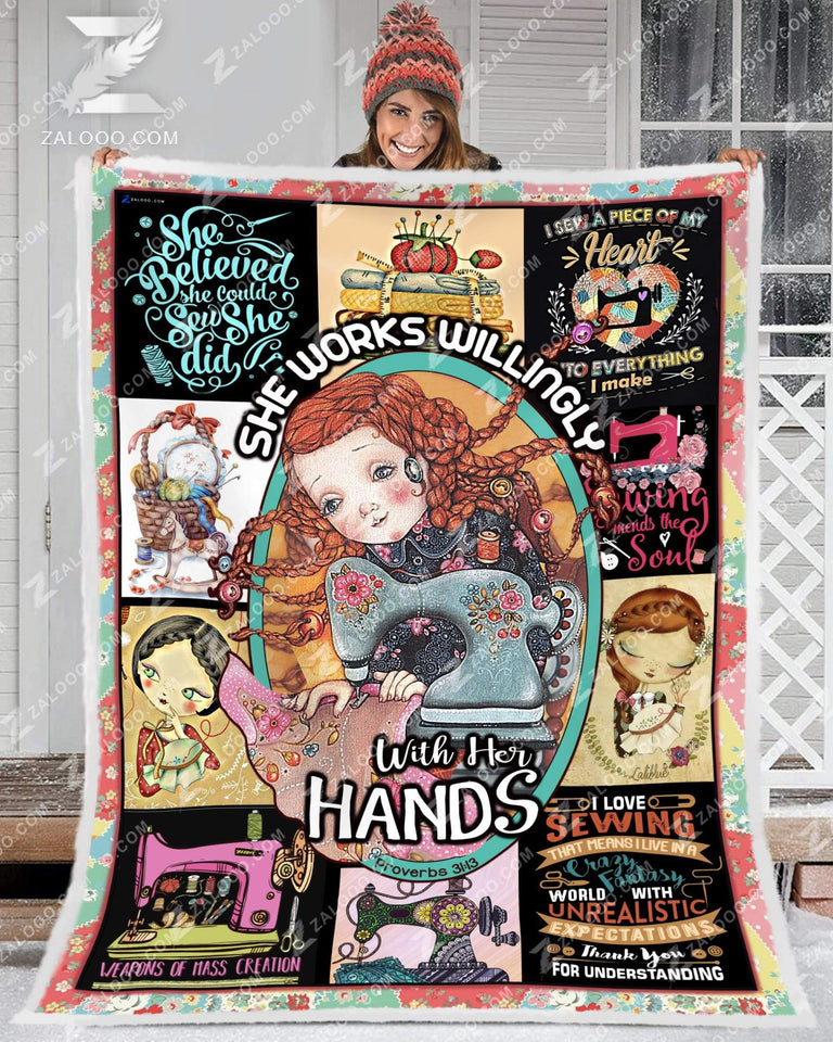 BLANKET SEWING She Works Willingly With Her Hands - Zalooo.com Custom Wall Art Canvas