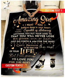 Custom Fleece Blanket - For Son From Mom - HOCKEY - You will never lose