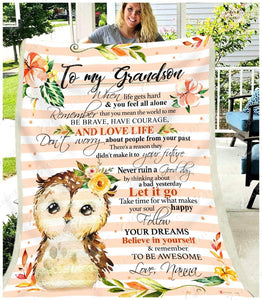 BLANKET - OWL - Grandson (Nanna) - Remember to be awesome