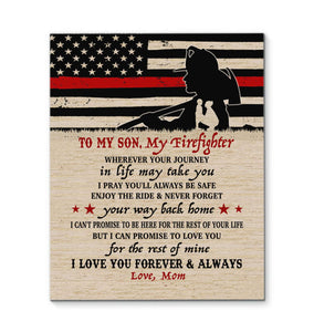 CANVAS - Firefighter Son - Wherever your journey in life may take you - yenyenstore