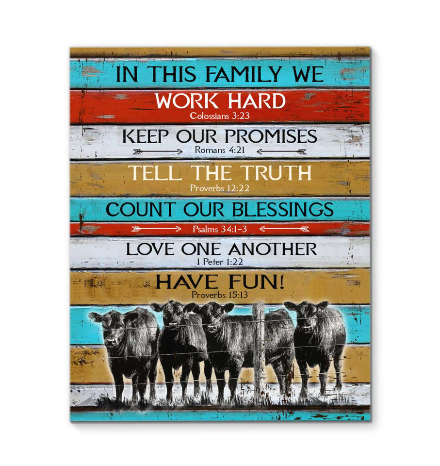 Canvas - Cow - In This Family We - yenyenstore