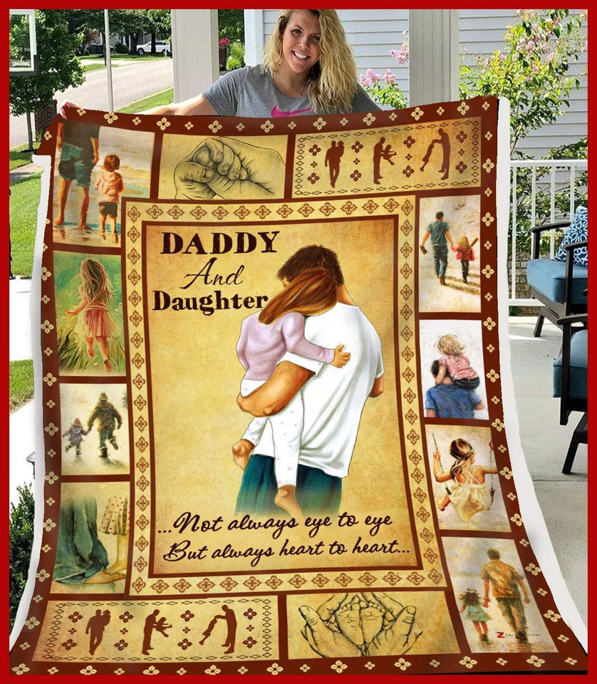 BLANKET Daddy and Daughter Heart to heart - Zalooo.com Custom Wall Art Canvas