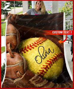 Custom Fleece Blanket - SOFTBALL