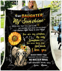 BLANKET - ELEPHANT - Daughter (Mom) - My only Sunshine
