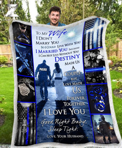 Custom Fleece Blanket POLICE Wedding Anniversary To my Wife Destiny - Zalooo.com Custom Wall Art Canvas