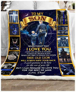 Custom Fleece Blanket - POLICE - For Son From Dad - I will always have your back