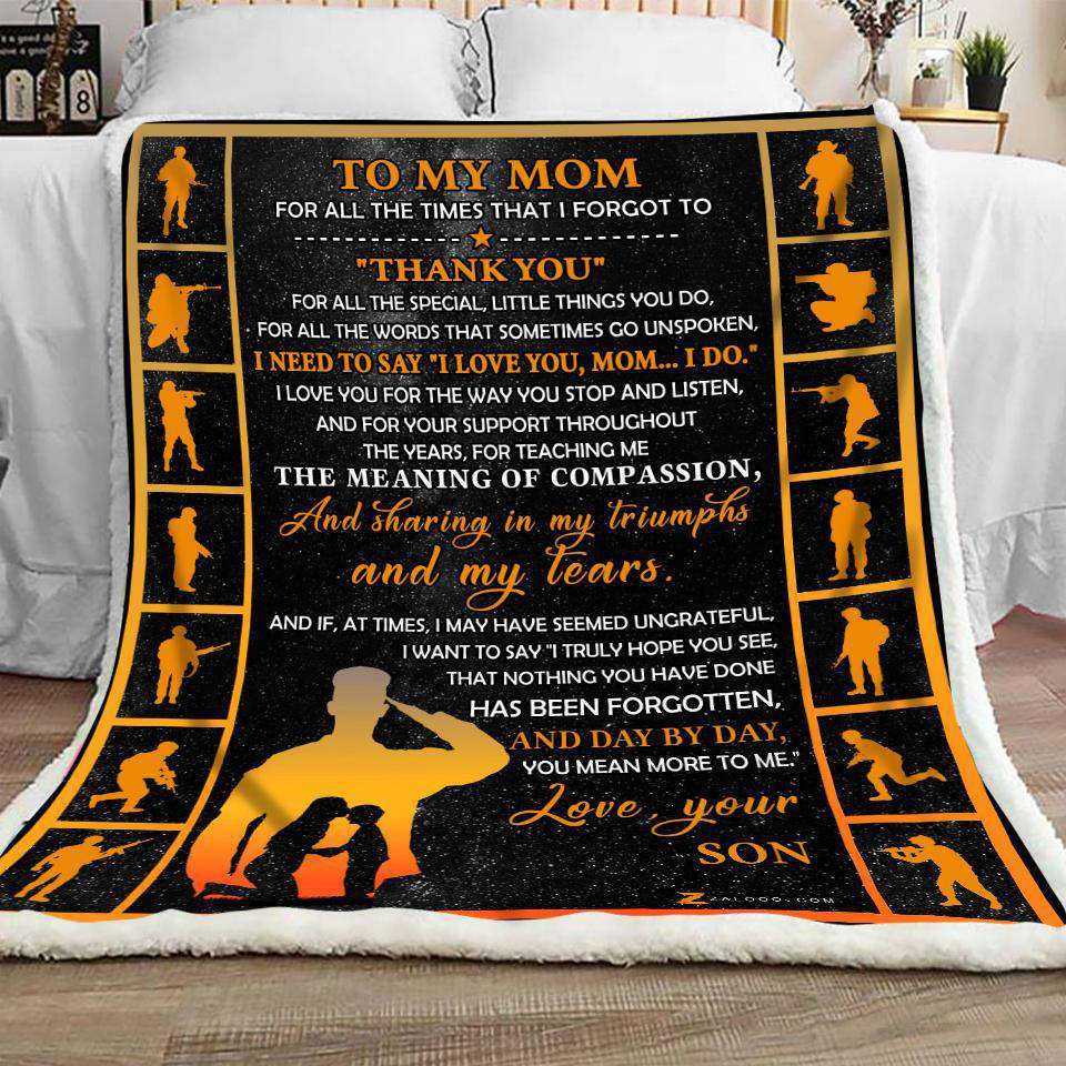 Blanket - Veteran -  To My Mom - Thank You - yenyenstore
