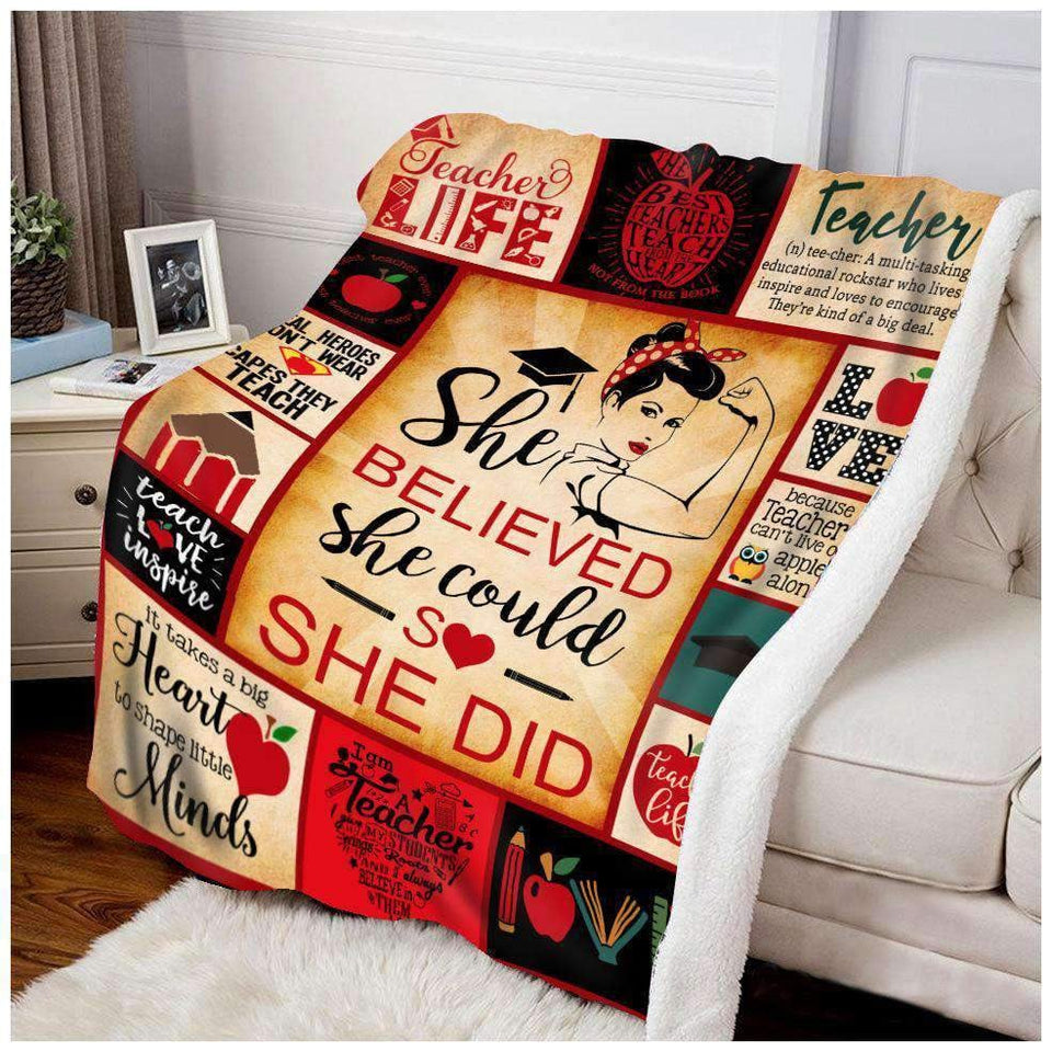BLANKET - TEACHER - She believed she could so she did - yenyenstore