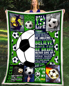 Fleece Blanket - Birthday Gift - SOCCER - Today Is A Brand New Day