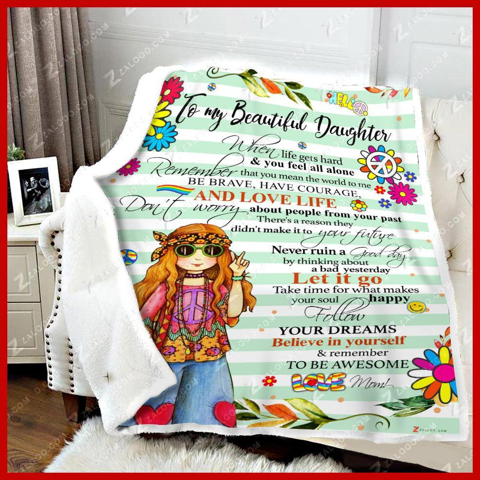 BLANKET HIPPIE DAUGHTER Remember to be awesome (Blue) - Zalooo.com Custom Wall Art Canvas