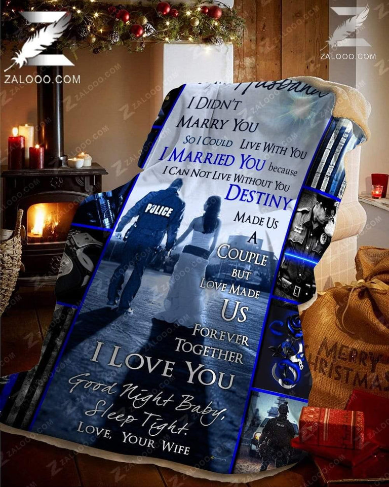 Custom Fleece Blanket - POLICE - Wedding Anniversary - To my Husband - Destiny