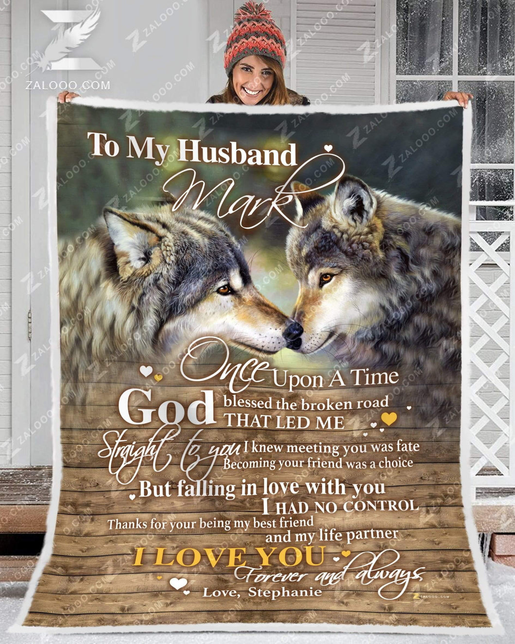 BLANKET WOLF To my Husband (Custom) God Blessed The Broken Road Ver2 - Zalooo.com Custom Wall Art Canvas