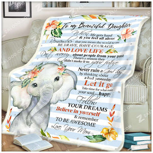 Fleece Blanket - ELEPHANT - Daughter (Mom) - Remember to be Awesome - yenyenstore