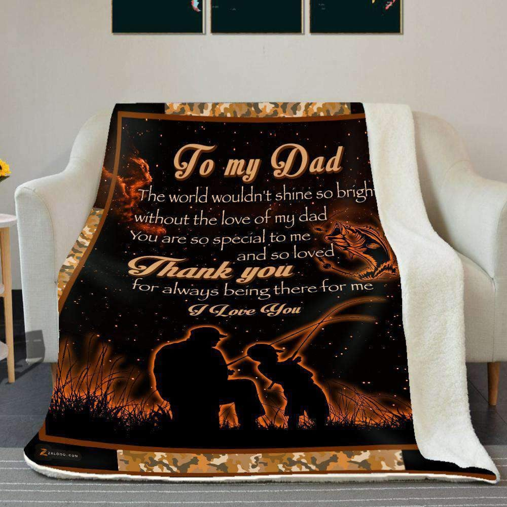BLANKET - Fishing - To my Dad - Thank you (Orange) - yenyenstore