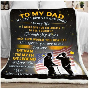 PP - BLANKET - Air Force - Dad - The Man The Myth The Legend - yenyenstore