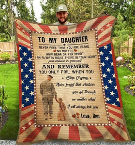 BLANKET - ARMY - To my Daughter - yenyenstore