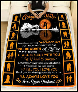 Blanket To my gorgeous wife Will be worth a lifetime - Zalooo.com Custom Wall Art Canvas