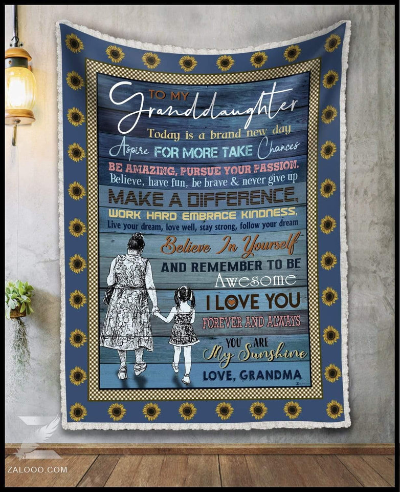 Blanket To My Granddaughter Today is a brand new day - Zalooo.com Custom Wall Art Canvas