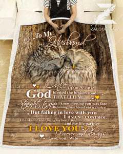 BLANKET OWL To my Husband God Blessed The Broken Road - Zalooo.com Custom Wall Art Canvas