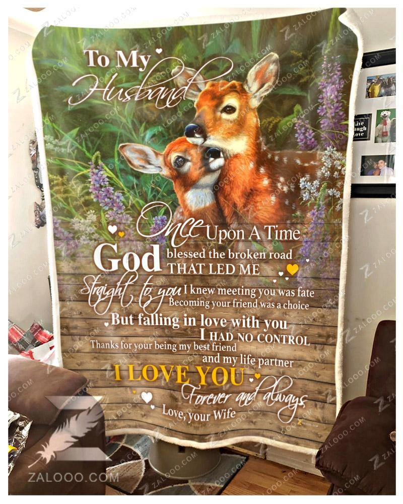 BLANKET DEER To my Husband God Blessed The Broken Road Ver2 - Zalooo.com Custom Wall Art Canvas