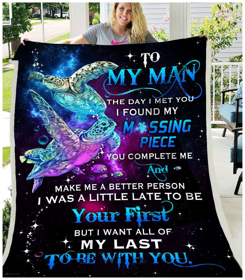 Fleece Blanket -TURTLE - To my Man - Missing Piece - yenyenstore