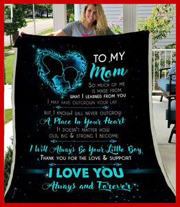 BLANKET - To my Mom - I will always be your little boy (Teal) - yenyenstore