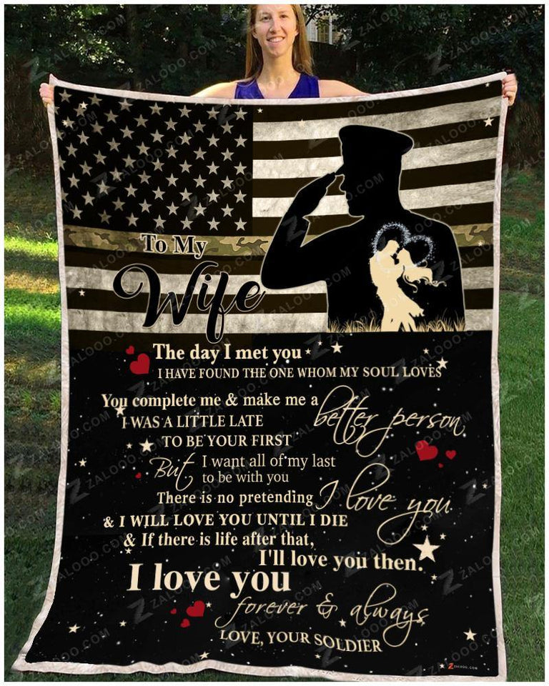 BLANKET ARMY To my Wife I will love you until I die - Zalooo.com Custom Wall Art Canvas