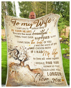BLANKET DEER To my Wife I Choose Both - Zalooo.com Custom Wall Art Canvas