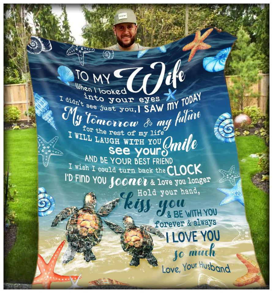 PP - BLANKET - TURTLE - To my Wife - When I looked into your eyes - yenyenstore