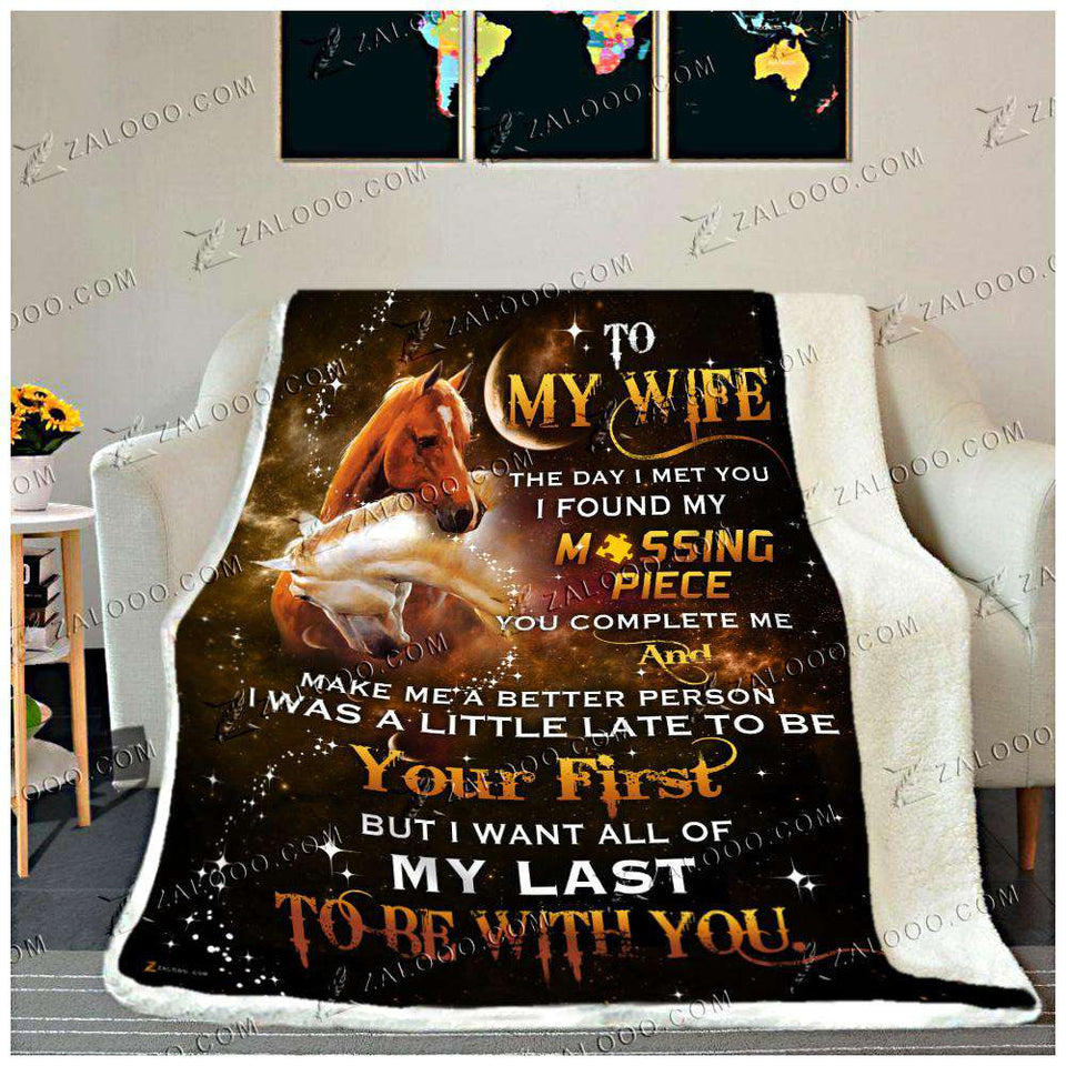 Fleece Blanket - HORSE - To My Wife - Missing Piece - yenyenstore
