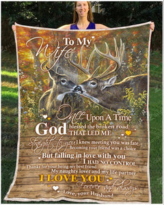 BLANKET DEER To my Wife God Blessed The Broken Road - Zalooo.com Custom Wall Art Canvas