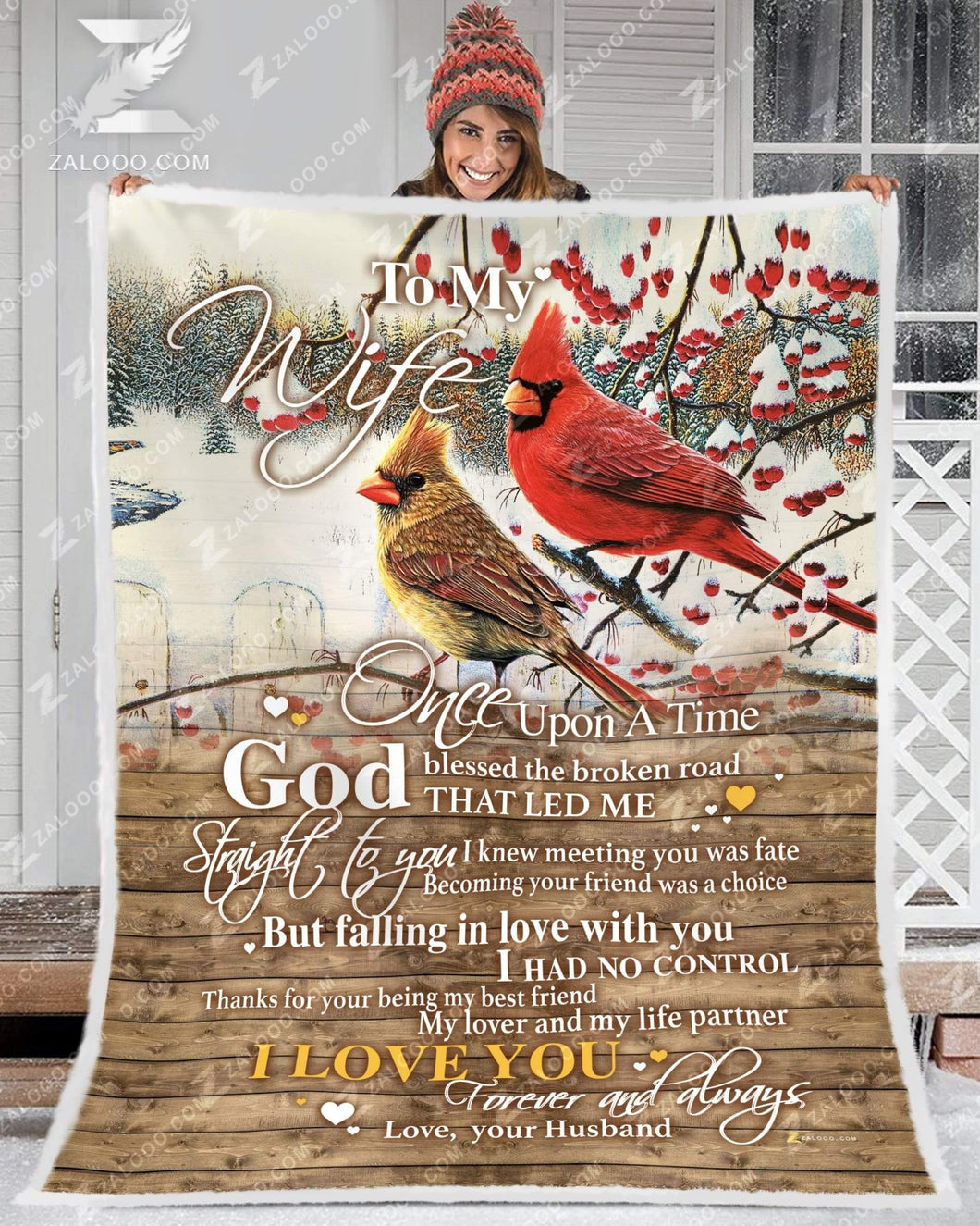 BLANKET CARDINAL To my Wife God Blessed The Broken Road