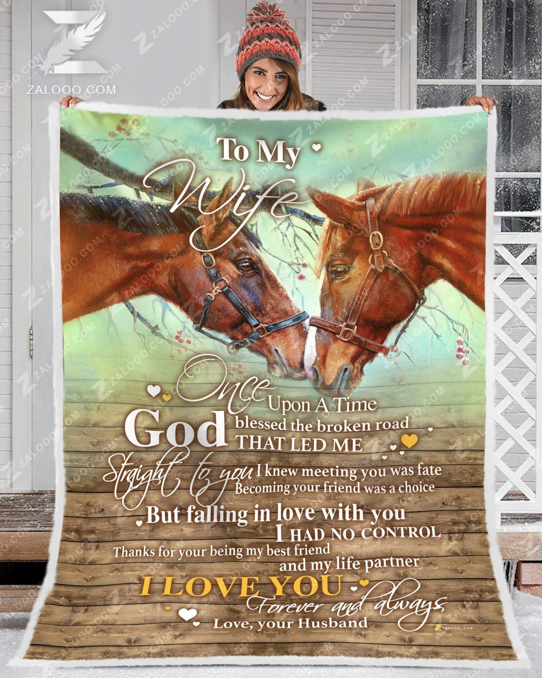 BLANKET HORSE To my Wife God Blessed The Broken Road - Zalooo.com Custom Wall Art Canvas