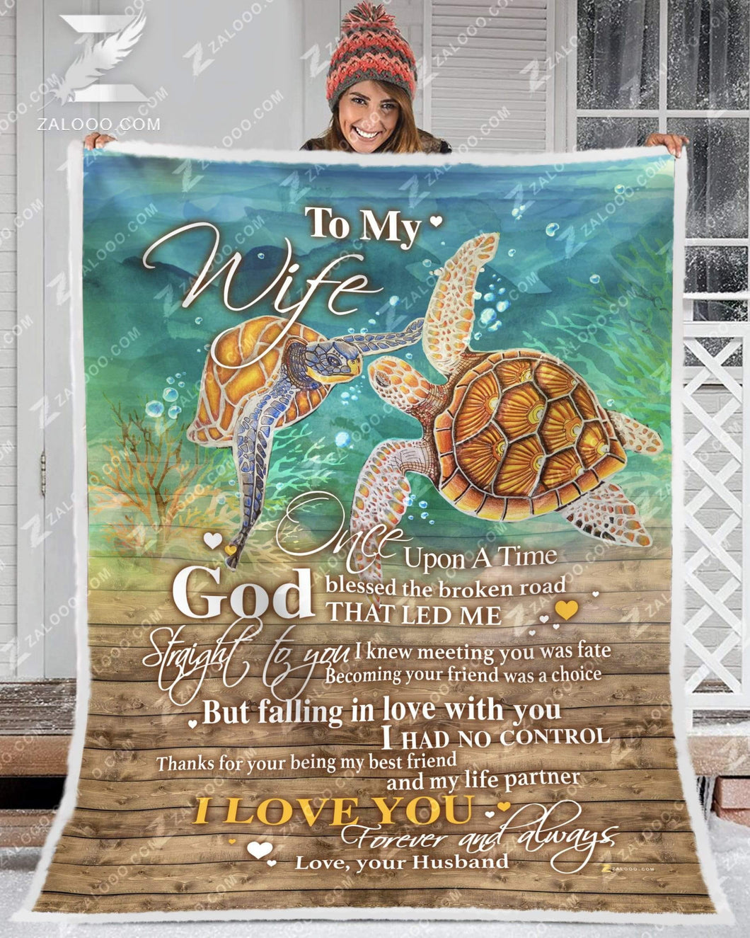 BLANKET TURTLE To my Wife God Blessed The Broken Road Ver2 - Zalooo.com Custom Wall Art Canvas