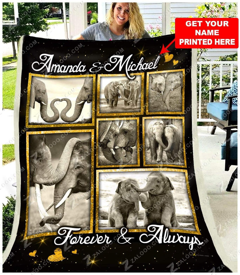 BLANKET - ELEPHANT - Personalized Name - Forever and Always
