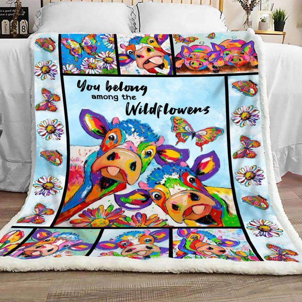 BLANKET - Cow - Wildflowers - yenyenstore