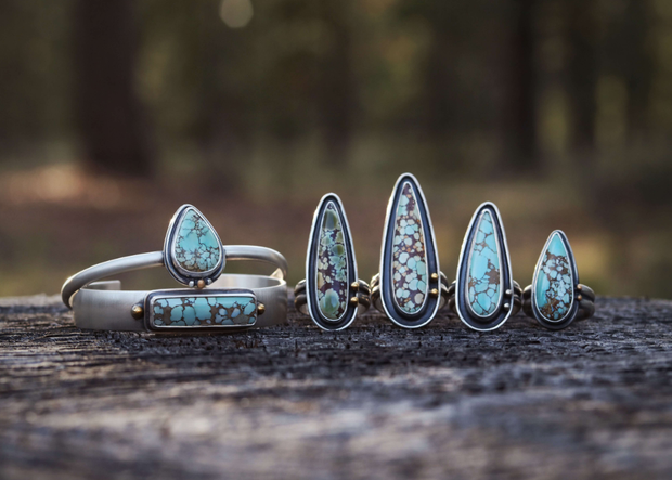 The Caldera Collection: Natural Hubei Turquoise + Sterling Silver - Size 7