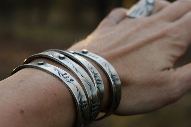 Mountain Lover Collection: Hand-Built Cuff with Reclaimed Sterling Silver (Made To Order)