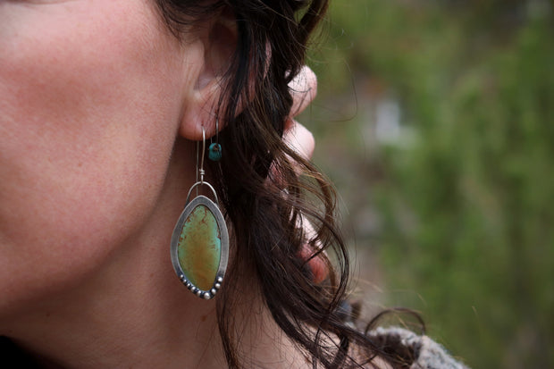 Dropped Dangle Earrings, Large Turquoise + Reclaimed Sterling Silver