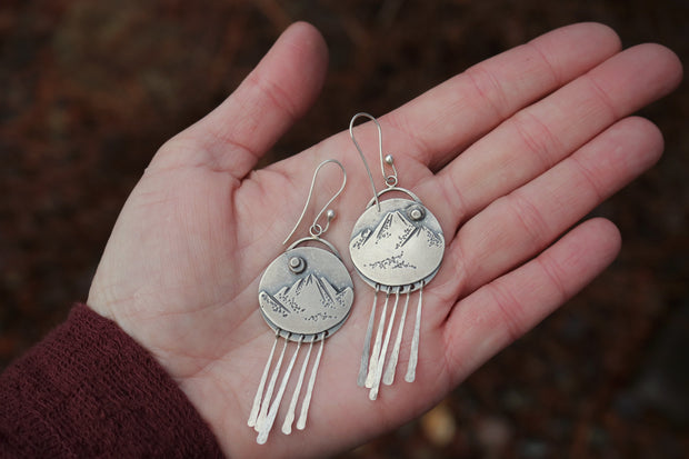 Mountains & Tall Pines, Reversible Disc Earrings. Sterling Silver, 3