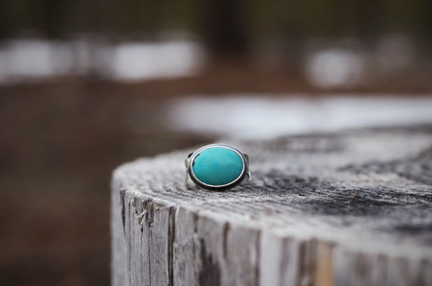 Mountain Lover Ring, Kingman Turquoise + Sterling. Fits Size 6.5