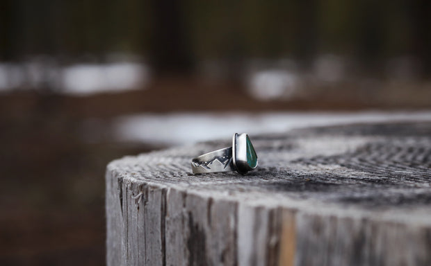 Mountain Lover Ring, Royston Turquoise + Sterling. Fits Size 7.5