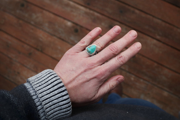 Mountain Lover Ring, Cumpas Turquoise + Sterling. Fits Size 7