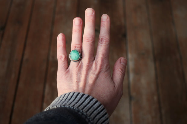 Natural Broken Arrow Variscite Ring, Sterling Silver. Fits size 7.5