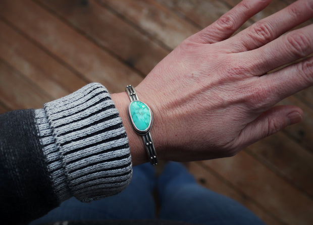 Natural Fox Mine Turquoise Cuff Bracelet, Sterling Silver