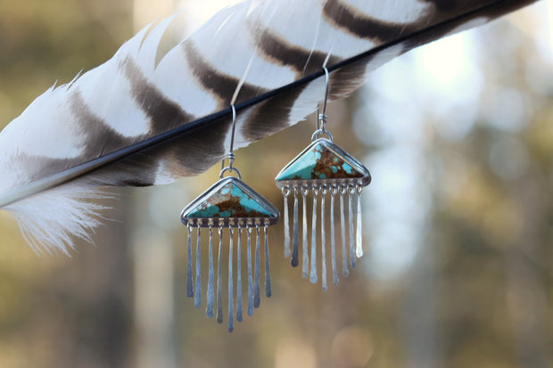 Dropped Dangle Earrings, Sterling + Number 8 Mine Turquoise