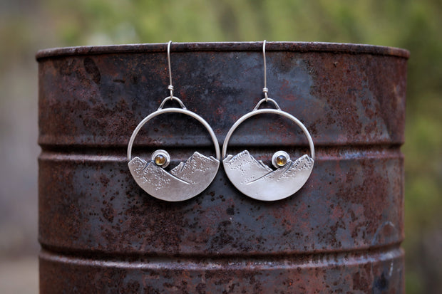 'Last Light' Mountain Hoop Earrings, Sterling Silver + Golden Citrine