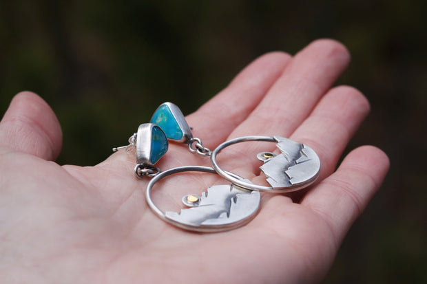'Last Light' Mountain Hoop Earring Danglers, Turquoise + Sterling Silver + 14K Gold