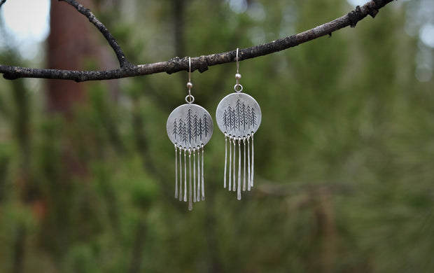 Mountains & Tall Pines Reversible Earrings 1. Reclaimed Sterling Silver