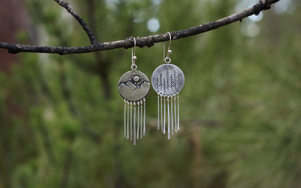 Mountains & Tall Pines Reversible Earrings 2. Reclaimed Sterling Silver